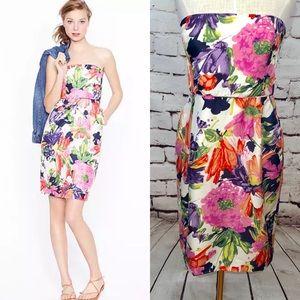 J. Crew Ella Dress in Garden Floral Silk Strapless